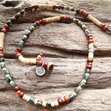 Bone ~ Mesopotamian Style Glass Beads ~ Karen Hill Tribe Silver ~ Necklace / Hippie Surfer Positive Energy Protection Healing Necklace