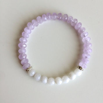 Genuine Round Moonstone & Faceted Cape Amethyst Bracelet w/ Swarovski Crystal Spacers  ~ 6mm Beads