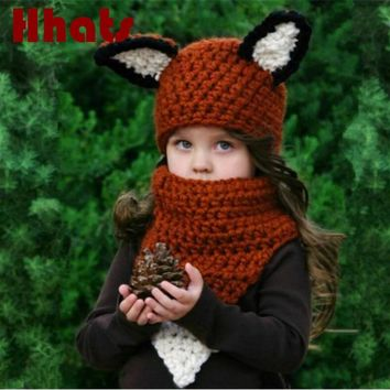 girl scarf and hat sets children cute cartoon crochet fox ring and beanie set kids thick warm knitted bib cap set drop