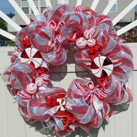 Christmas Wreath - Metallic Peppermint Candy Cane Deco Mesh - Holiday Wreath