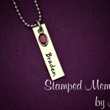 Kid's Name and Birthstone Necklace - Hand Stamped Mommy Jewelry - Stainless Steel -  Personalized Mother's Day Gift