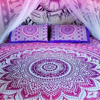 Pink ombre Wall Hanging Beach Throw Bedspread Mandala Wall Hanging