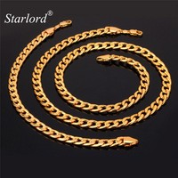 Starlord Kpop Bracelet Necklace Set New Year Party Men Jewelry Gift Trendy White Gold Color Miami Cuban Chain Jewelry Set NH755