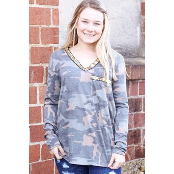 Glitzy Camo Sequin Trim L/S Top - Size SMALL