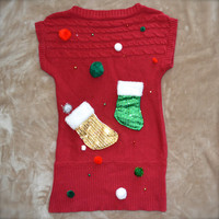 Ugly Christmas Sweater Extra long with Shiny Stockings, Fuzzy balls and Beads