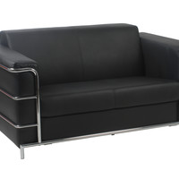Leonardo Loveseat in Black Leatherette with Chrome Frame