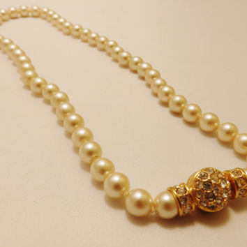 Nolan Miller Faux Pearl and Rhinestone Necklace
