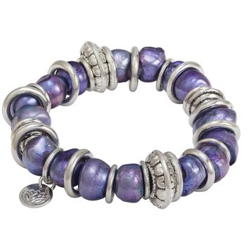 Purple Baroque Shaped Freshwater Pearl and Stainless Steel Ring Bracelet