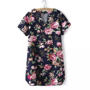 Stylish V-neck Short Sleeve Print Cotton Women's Fashion One Piece Dress [5013337156]