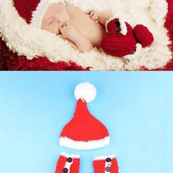 Red Santa Hat With Booties Knit Crochet Christmas newborn Prop Outfit - CCC245