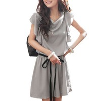 Allegra K Women Cowl Neck Short Ruffled Sleeve Elastic Waist Dress w Strap