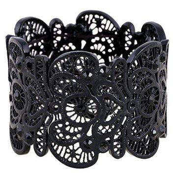 D EXCEED Womens Statement Bracelet Lace Filigree Cuff Bracelet Rhinestone Stretch Bangle Bracelet for Ladies 7quot
