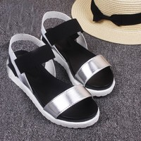 Ladies Metallic Roman Sandals