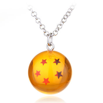 7 Style Anime cartoon Dragon Ball Z Necklace DBZ Cosplay Crystal Ball 1-7 Stars PVC figure toys Pendant Necklace 3cm
