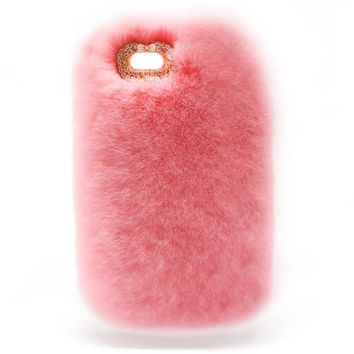 Phone Case Luxury Rabbit Fur for iPhone 6 6S Plus Case Winter Furry Shell Smooth Plush Cute Girly Diamond Cover
