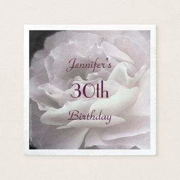 Pale Pink Rose Paper Napkins, 30th Birthday Party Paper Napkin