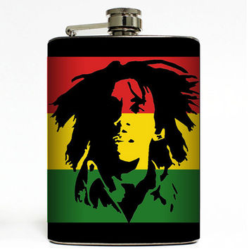 Bob Marley Rasta Flask 8oz Stainless Steel Hip Black Container Music Jamaican Raggae Flag
