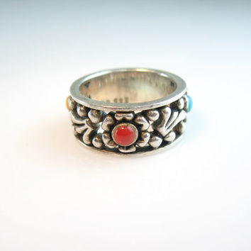 Vintage Sterling Silver Ring Colorful Turquoise Red Yellow Cabochons Pierced Floral Cigar Band Size 6