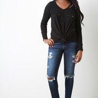 Distress Frayed Hem Skinny Jeans
