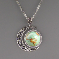 Free shipping,Vintage Globe necklace,geography jewelry,Planet Earth World Map Art pendant,Fashion Moon charm jewelry,Unique Friendship Jewelry,gift for best friend,Unisex necklace,Nautical pendant Friendship Graduation gift,Handmade,Wholesale or retail