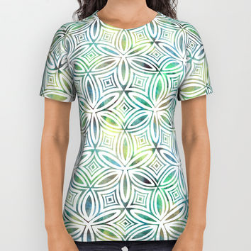 Floral Elegant Tribal Pattern (Lime Mint Dark Greens) All Over Print Shirt by AEJ Design