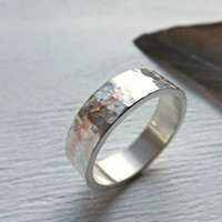 silver ring copper inlay - hammered ring silver - round hammered silver ring - rustic mens ring rustic wedding ring