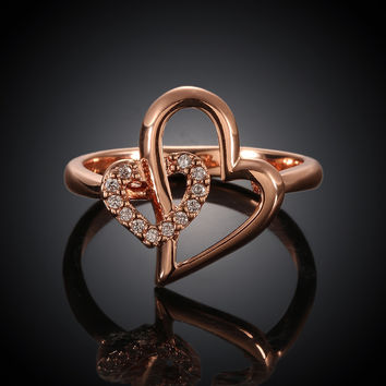 Heart In Heart Rose Gold Plated Ring