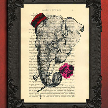 elephant flower, vintage dictionary print - upcycled book prints antique book page, gentleman ELEPHANT wall art with rose illustration