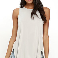 Give it All You've Got Light Grey Tank Top