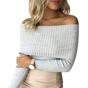 Streetwear Elastic Strapless Women Knitted Top