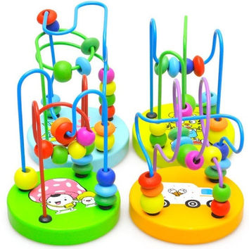 1pcs Children Kids Baby Colorful Wooden Mini Around Beads Educational Toy = 1945792644