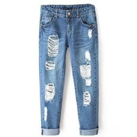 Spring 2016 Womens Blue Cotton Blend Hole Loose Harem Jeans Bleached Feminina Boyfriend Casual Jeans For Women Trousers