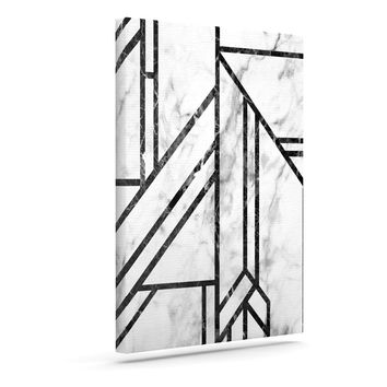 "KESS Original ""Black Marble Mosaic"" Geometric Modern Canvas Art"