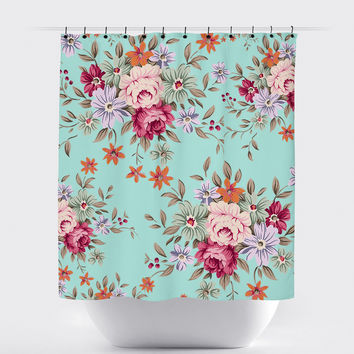 Mint Shabby Chic Floral Shower Curtain