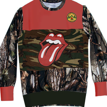 Rolling Stones Tongue Camo Oak Wood Panel Crewneck Sweater