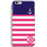 Pink Stripe Pattern Monogram with Anchor  iPhone 6 Case, iPhone 5S Case