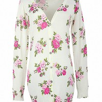 MapleClan Women's V neck Printed Button Up Long Knit Sweater Rose Bloom