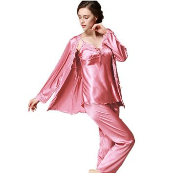 Lace Silk Pajama Pants Set Ladies Womens Long Sleeve nightshirts trouser suit three - piece Homewear Clothes For Women
