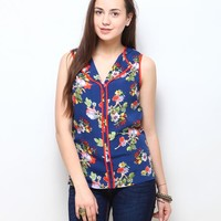 Shyra Floral Print Top - Navy Blue Online Shopping | 64743