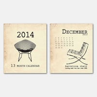 2014 Calendar - Chairs - Chair Silhouette - Interior Design - Furniture Design - Midcentury modern - Furniture Silhouettes - Jewel Case