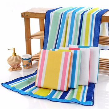 70*150cm Superfine Fiber Stripe Bath Towel Hair Dry Towel Four Optional Color