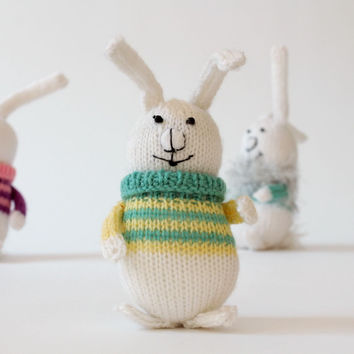 Knitted handmade toy natural materials Baby rabbit in yellow-green sweater