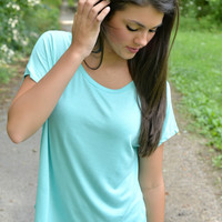 Mint Short Sleeve Piko Style Top