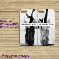iPhone 5 case,cute iphone 5 case,iphone 5 cases,iPhone 4 case,iphone 4s case,ipod 4 case,ipod 5 case--brunette blonde best friend,in plastic