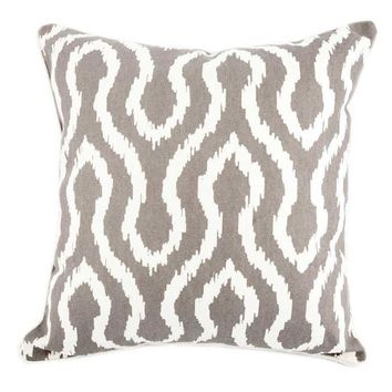 "Gray & Ivory 18"" x 18"" Ikat Pillow Cover 