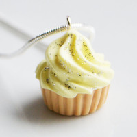 Cupcake Yellow Glitter Necklace, Fimo, Polymer Clay, Miniature