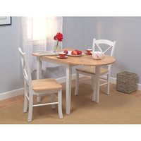 Country Style Kitchen  2 Chairs Dinette Drop Leaf Dining Table Chair Set Studio