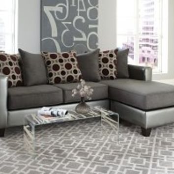 Silver and Grey Couch | Mulberry Graphite 2-Piece Sectional Sofa