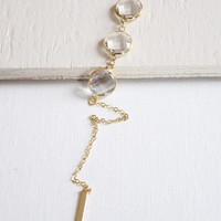 Glass Drops Gold Lariat Y Necklace