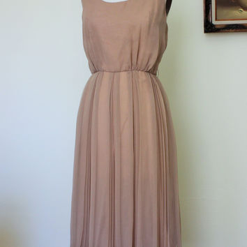 Vintage 1970s Taupe Chiffon Dress, Jack Bryan Dress